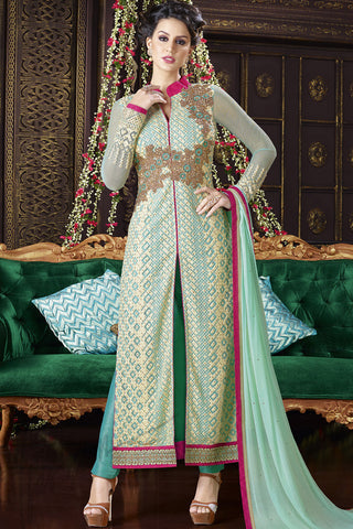 Indi Fashion Green and Sky Blue Georgette Jacket Style Straight Suit