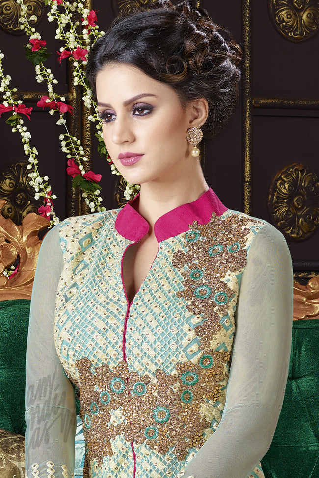 Green And Sky Blue Georgette Jacket Style Straight Suit Indi Fashion