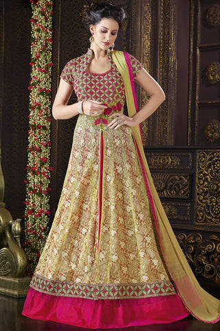 Indi Fashion Red and Beige Net Floor Length Suit