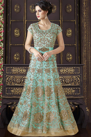 Indi Fashion Sky Blue and Gold Net Floor Length Suit