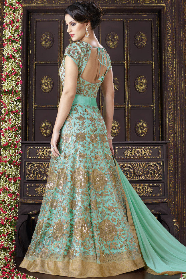 Buy Sky Blue and Gold Net Floor Length Suit Online at indi.fashion