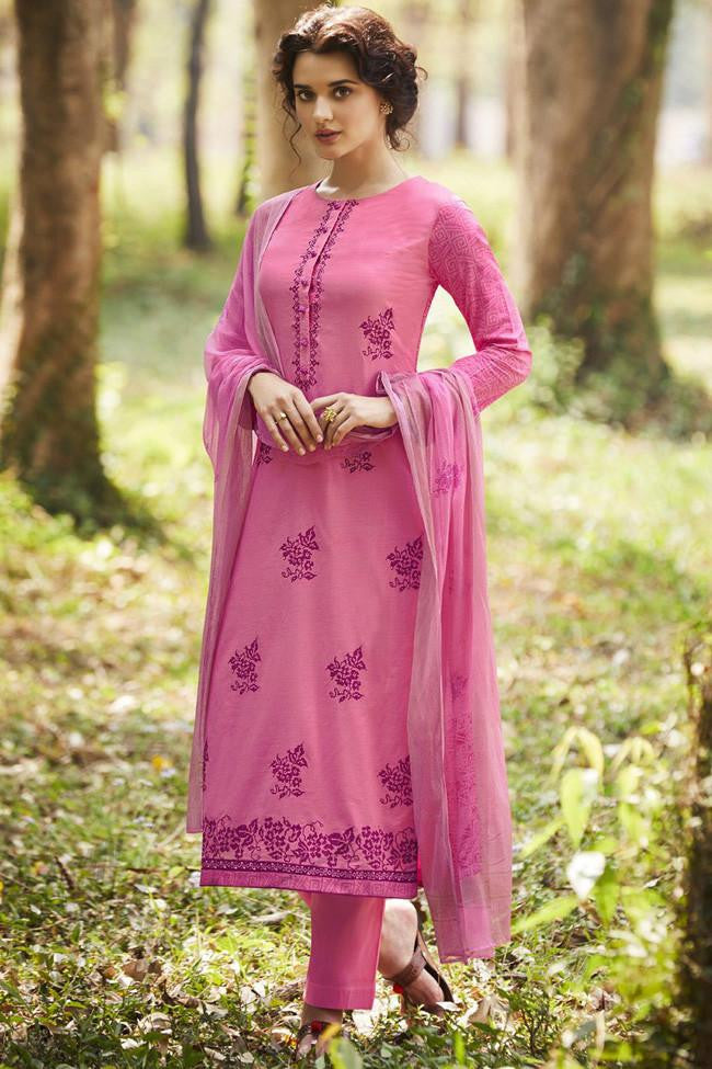 Indi Fashion Strawberry Pink Pure Cotton Suit