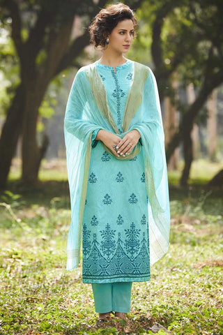 Indi Fashion Open Sky Pure Cotton Suit