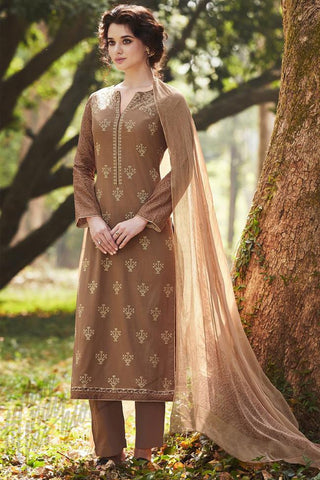 Indi Fashion Rust Brown Pure Cotton Suit