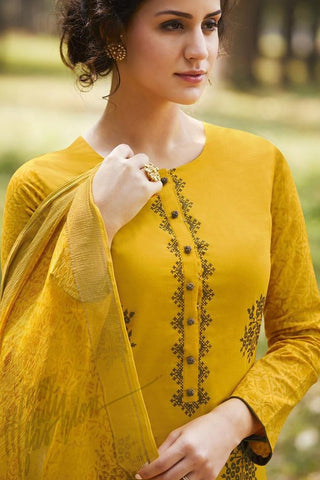 Indi Fashion Sunflower Yellow Pure Cotton Suit