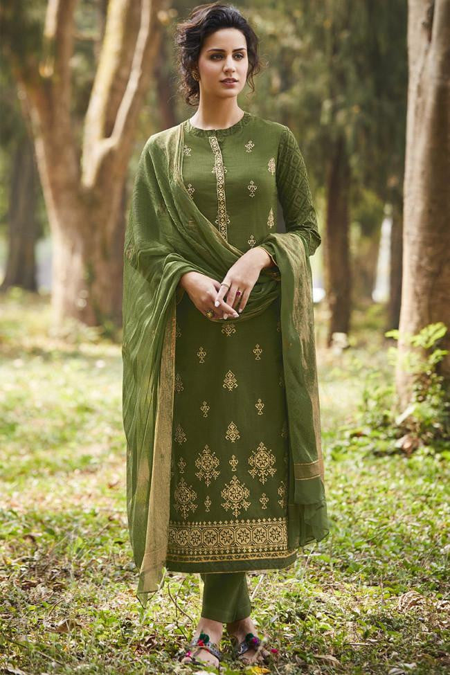 Indi Fashion Henna Green Pure Cotton Suit
