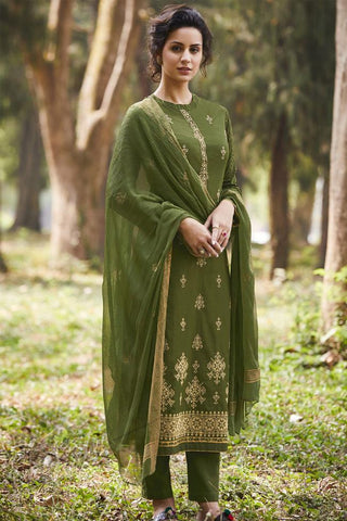 Buy Henna Green Pure Cotton Suit Online at indi.fashion