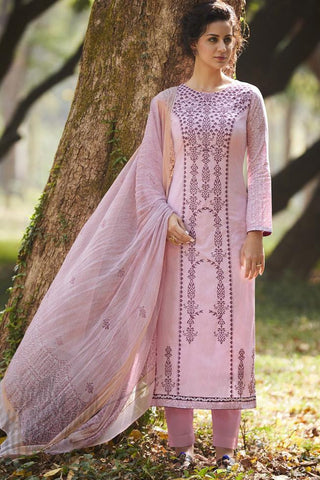 Indi Fashion Light Pink Pure Cotton Suit