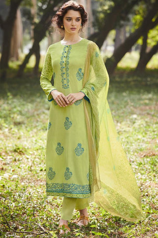 Buy Pastle Green Pure Cotton Suit Online at indi.fashion