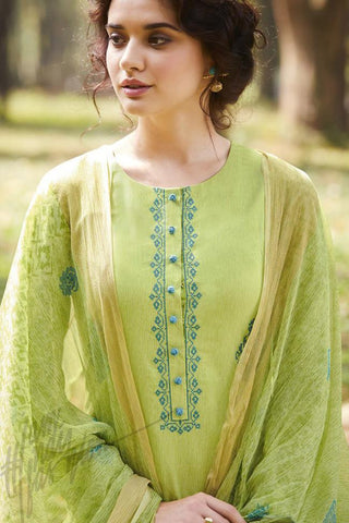 Indi Fashion Pastle Green Pure Cotton Suit
