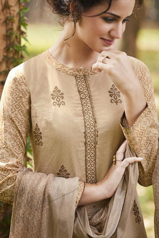 Indi Fashion Soft Brown Pure Cotton Suit