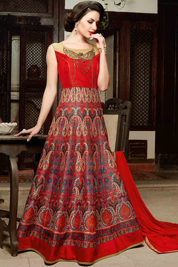 Indi Fashion Red Silk Gown Style Party Wear Floor Length Suit