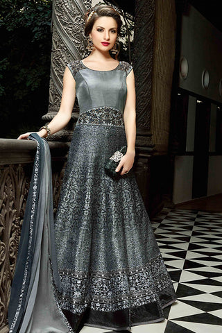 Indi Fashion Gray Silk Gown Style Party Wear Floor Length Suit
