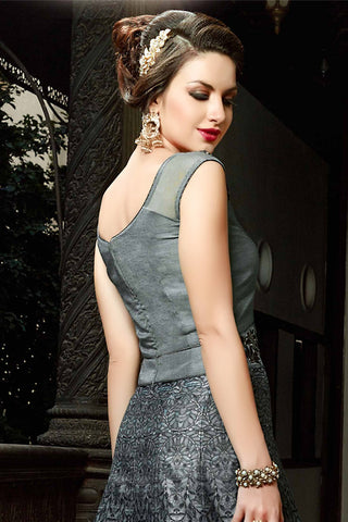 Buy Gray Silk Gown Style Party Wear Floor Length Suit Online at indi.fashion
