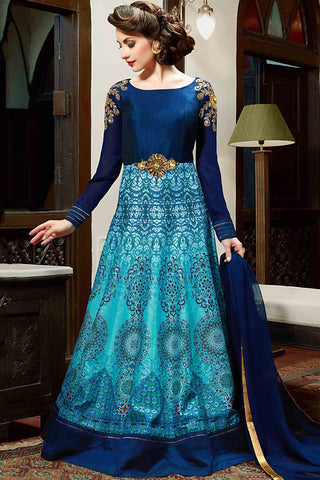 Indi Fashion Navy Blue and Sky Blue Gown Style Party Wear Floor Length Suit