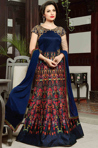 Indi Fashion Royal Blue Silk Gown Style Party Wear Floor Length Suit