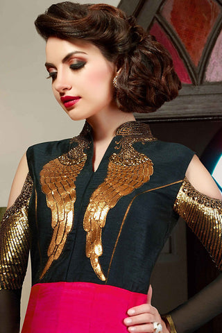 Indi Fashion Black Gold and Magenta Silk Gown Style Party Wear Floor Length Suit