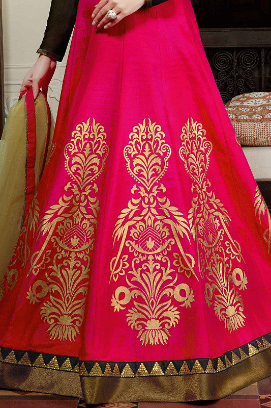 Black Gold and Magenta Silk Gown Style Party Wear Floor Length Suit