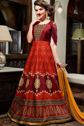 Indi Fashion Maroon and Rust Silk Gown Style Party Wear Floor Length Suit