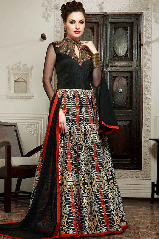 Indi Fashion Black Silk Gown Style Party Wear Floor Length Suit