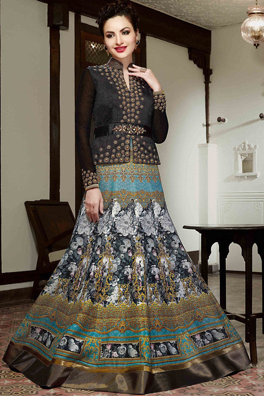 Indi Fashion Black and Blue Silk Gown Style Party Wear Floor Length Suit