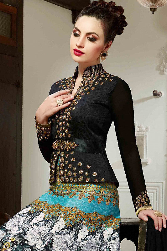 Black and Blue Silk Gown Style Party Wear Floor Length Suit
