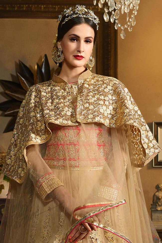 Indi Fashion Beige and Pink Banarasi Silk Poncho Style Party Wear Suit