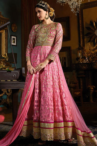 Buy Pink Heavy Net Floor Length Party Wear Suit Online at indi.fashion