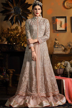 Indi Fashion Light Peach Heavy Net Double Layered Party Wear Suit