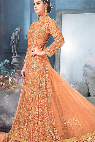 Indi Fashion Orange and Gold Net Floor Length Party Wear Suit