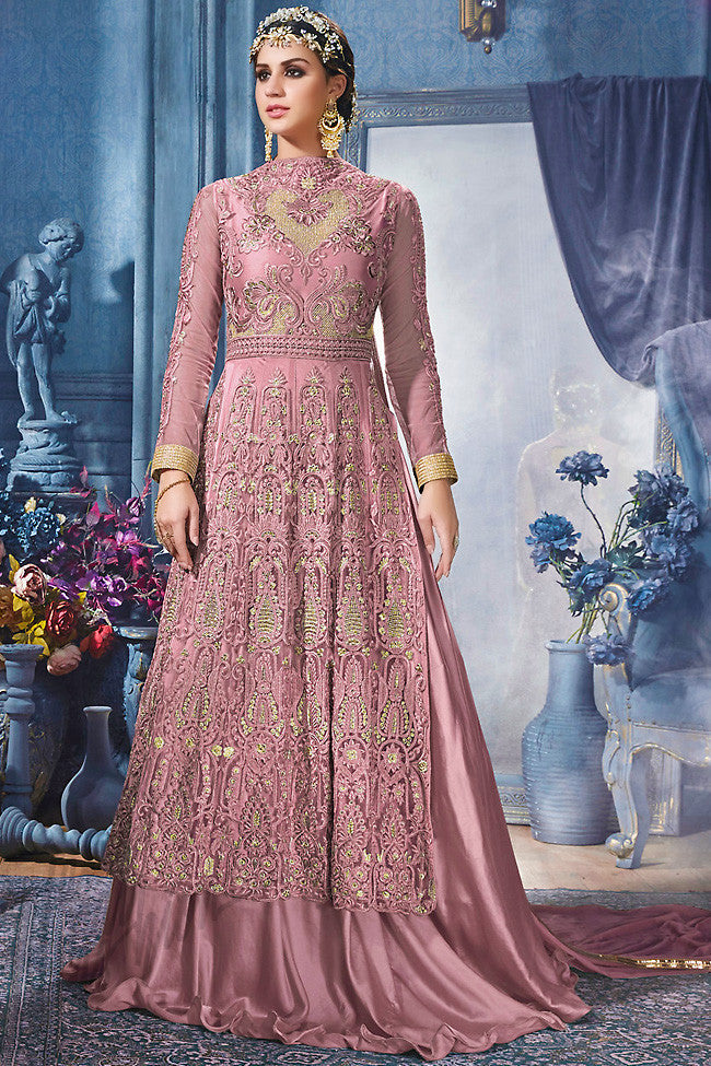 Pink and Gold Net Party Wear Suit With Skirt - indi.fashion
