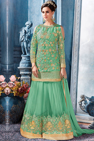 Indi Fashion Parrot Green and Gold Net Party Wear Palazzo Suit
