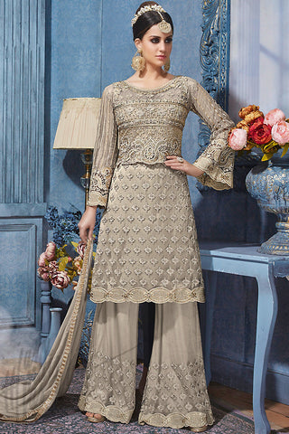Indi Fashion Gray and Silver Net Party Wear Palazzo Suit