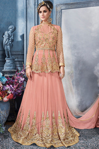 Indi Fashion Peach and Gold Net Party Wear Lehenga Set