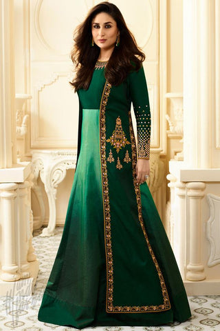 Indi Fashion Bottle Green Georgette Long Jacket Style Floor Length Suit
