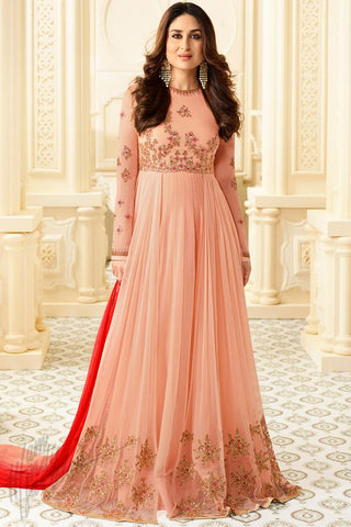 Indi Fashion Soft Pink Georgette Floor Length Suit