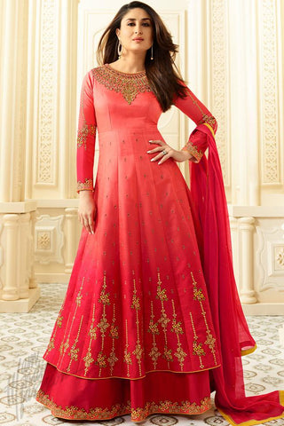 Indi Fashion Red Ombre Georgette Floor Length Suit