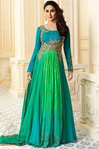 Indi Fashion Sky Blue and Green Georgette Floor Length Suit