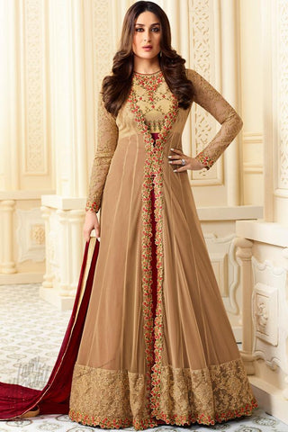 Indi Fashion Beige and Maroon Georgette Long Jacket Style Floor Length Suit
