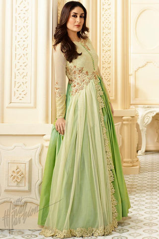 Indi Fashion Cream and Green Ombre Georgette Floor Length Suit