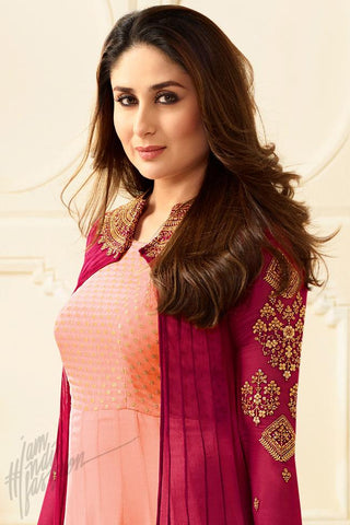Indi Fashion Peach and Magenta Georgette Long Jacket Style Floor Length Suit