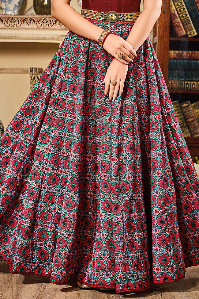 Indi Fashion Wine Silk and Net Gown Style Floor Length Suit