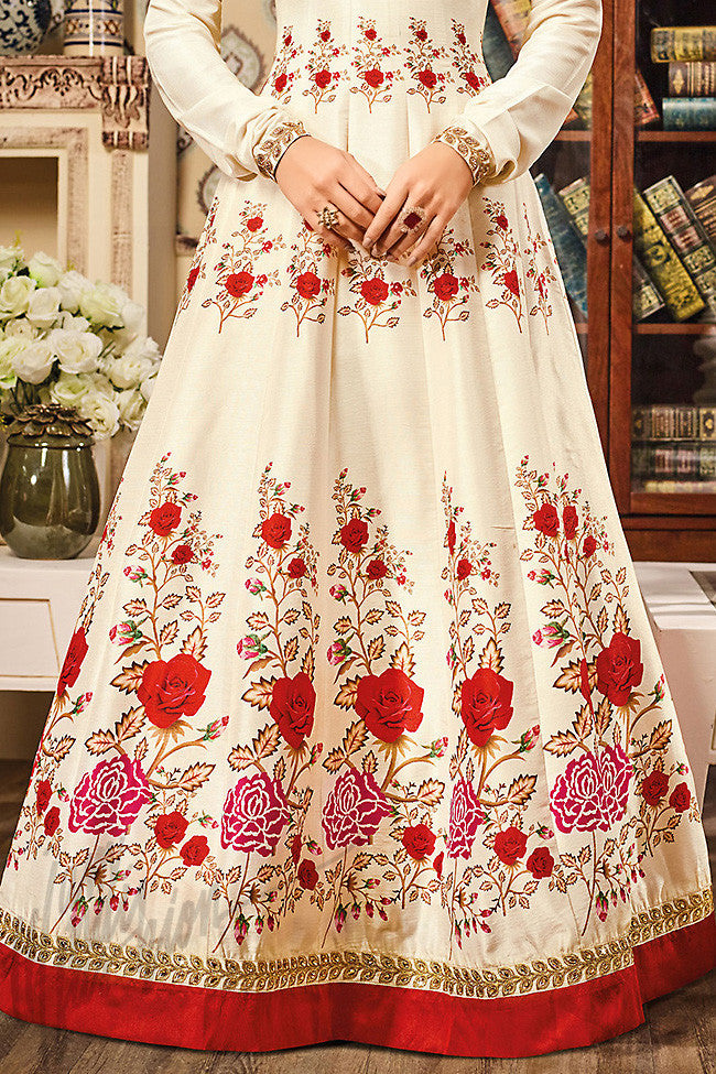 Indi Fashion Off White and Red Silk Gown Style Floor Length Suit
