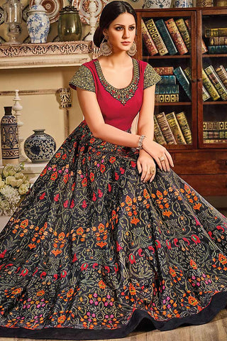 Indi Fashion Red and Black Silk Gown Style Floor Length Suit