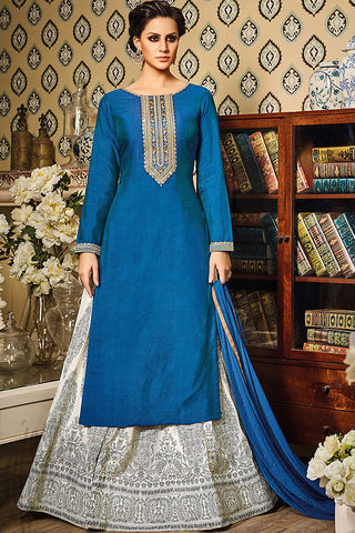 Indi Fashion Blue and White Silk Lehenga Style Suit