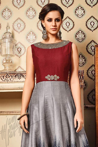 Indi Fashion Maroon and Gray Silk Gown Style Floor Length Suit