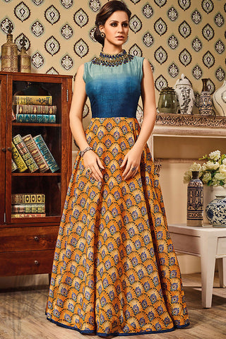 Buy Blue and Orange Silk Gown Style Floor Length Suit Online at indi.fashion