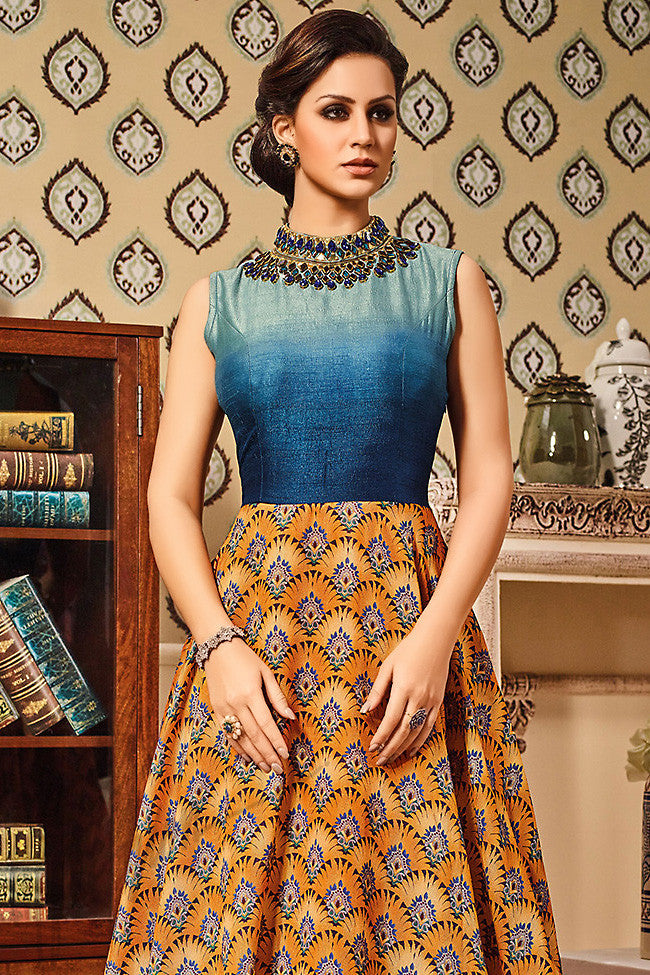 Indi Fashion Blue and Orange Silk Gown Style Floor Length Suit