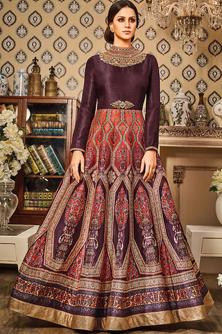 Indi Fashion Wine and Orange Silk Gown Style Floor Length Suit