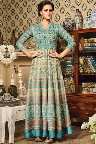 Indi Fashion Light Blue and Beige Silk Gown Style Floor Length Suit